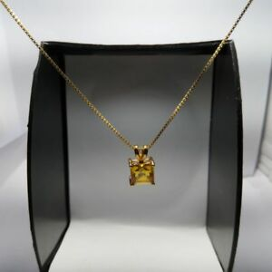 1-35ct-Yellow-Citrine-Square-Pendant-w-18-034-Chain-Necklace-14k-Yellow-Gold-Over