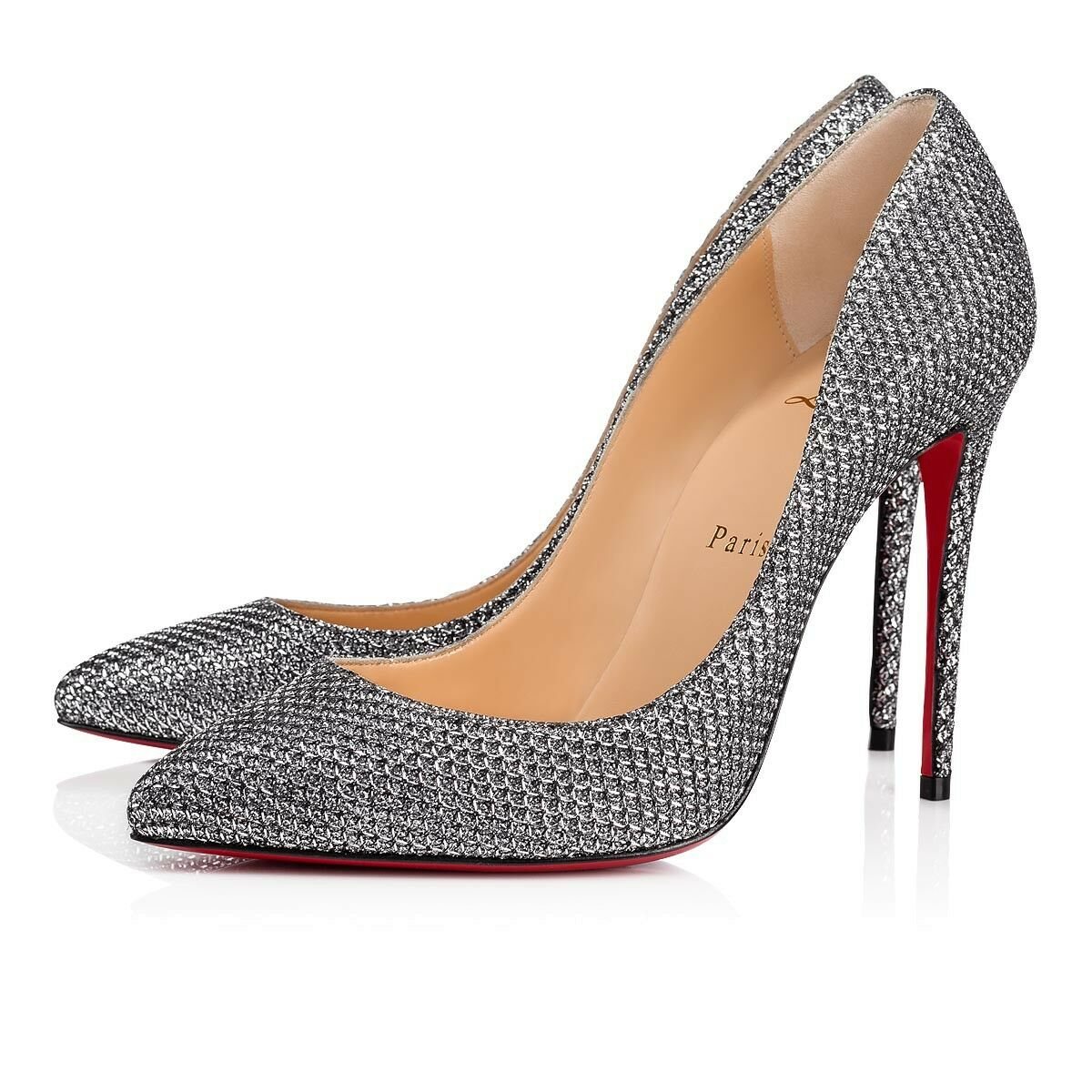 NIB Christian Louboutin Pigalle Follies 100 Antic Silver Glitter Heel Pump 41.5