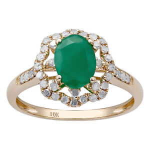 10k-Yellow-Gold-Vintage-Style-Oval-Emerald-and-Halo-Diamond-Ring