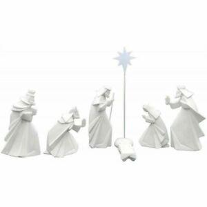 Porcelain Origami Christmas Nativity Scene, Set/7, White