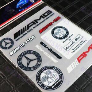 9pcs For AMG Mercedes Benz Reflective Decal Sticker Set Car Door Window Vinyl