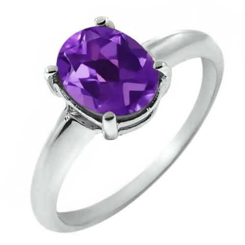 1.65 Ct Oval Amethyst Ring in 925 Silver