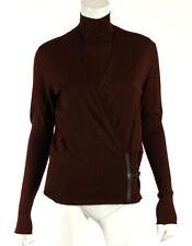 HERMES Dark Brown Wool & Leather Trim H Side Buckle Cardigan Twinset 42