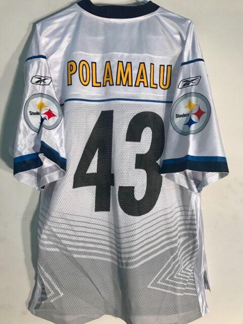 Reebok NFL Jersey Pittsburgh Steelers Troy Polamalu White Super Bowl 45 sz L e5d9aa710