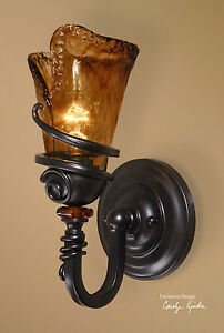 Image Is Loading New Tuscan Bronze Metal Gl Electric Wall Sconce