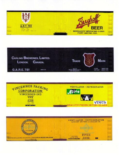 Four wood-era S scale reefers including BERGHOFF BEER printed sides