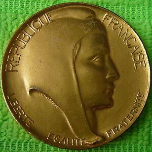 Medalla-EN-VERMEIL-Marianne-firmada-J-H-Coeffin-1985-Monedas-de-PARIS