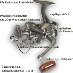 FREILAUFROLLE-Rolle-inkl-Ersatzspule-Angelrolle-Karpfen-Zander-Aal-mat40-0643