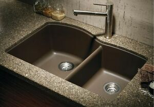Details About Granite Composite 60 40 Kitchen Sink Compare To Blanco Espresso