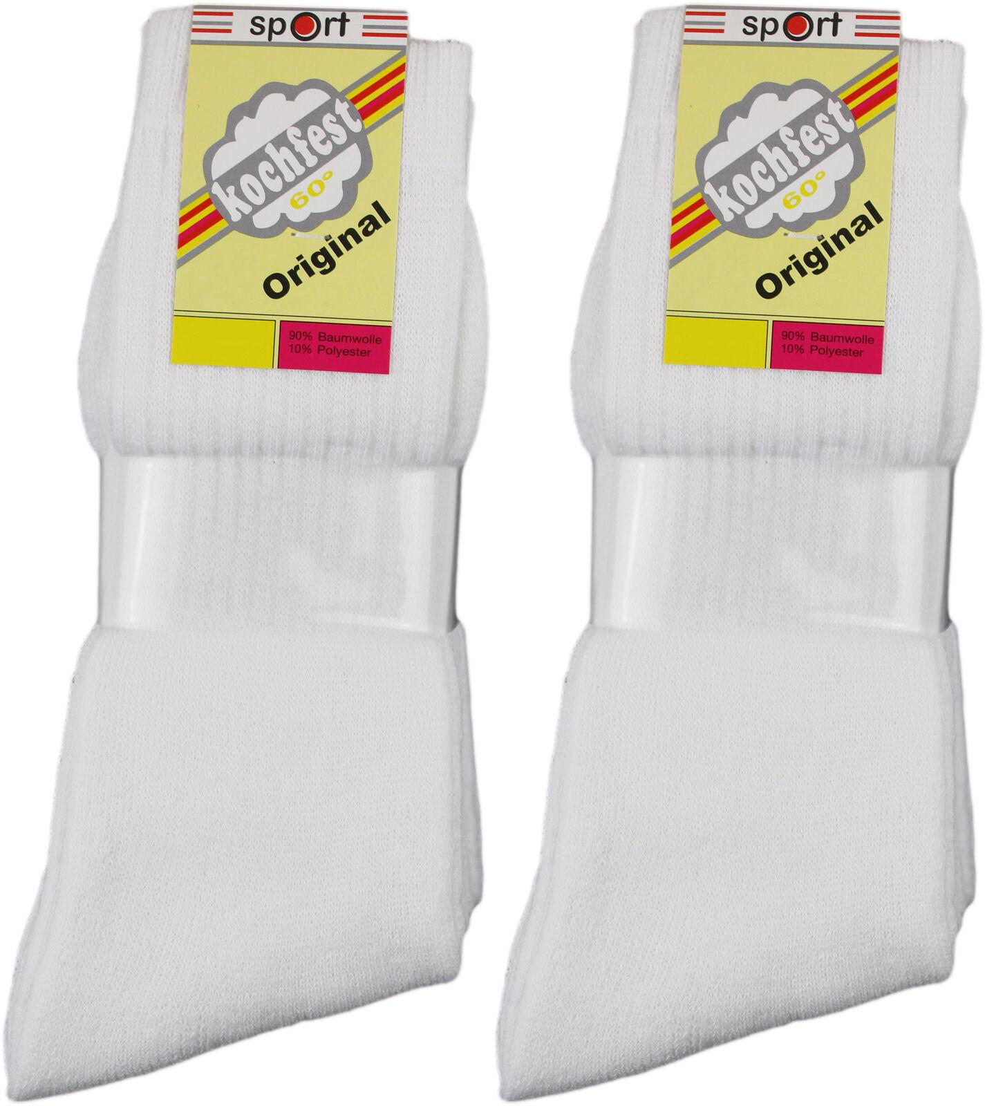 20 Paar Sport-Socken weiß 90 % Baumwolle o Ringel WOW