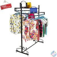 Double Bar Elegant Rack Shelf Boutique Clothes Garment Display Retail Store Home