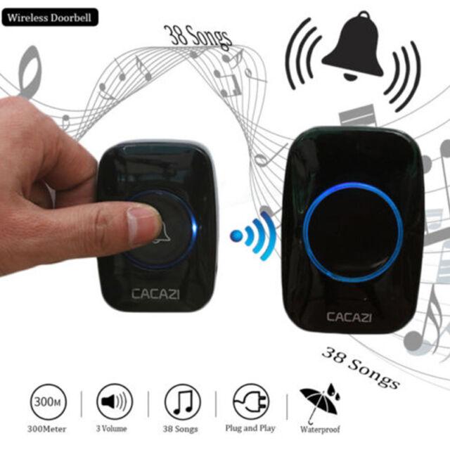 Smart Wireless Doorbell Home 300M Remote Waterproof LED 38 Songs Chime Door Bell
