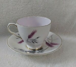 Old Royal England Bone China 3647 Cup And Saucer Pink Wheat Scalloped Edges