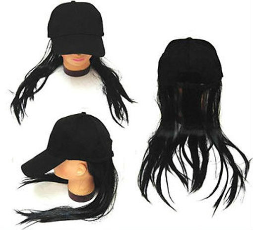 f581346569 Long Black Hair Baseball Cap Funny Ball Caps Costume Hat With Wig Fake Joke  for sale online