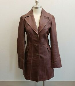 Guess-Brown-Soft-Leather-Trench-Coat-Jacket-Button-Front-Women-039-s-Mid-sz-Medium