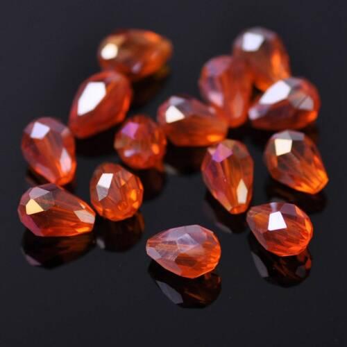 50pcs 7x5mm petite Teardrop Faceted Crystal Glass Loose Artisanat Perles Lots Colors
