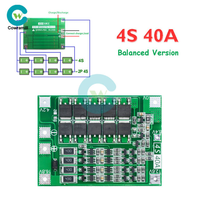 4S 40A Li-ion 18650 Lithium Battery Protection Board BMS Charger Module Balanced