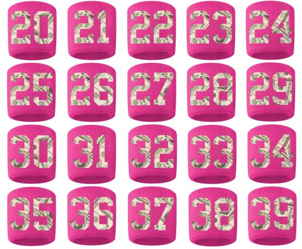 #20-39 Number Sweatband Wristband Football Baseball Basketball Pink Money Print