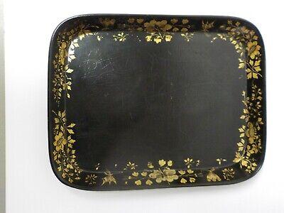 """Einfach 19. C Viktorianisch Zeit Hand- Vergoldet Pappmaché 14 """" Tablett Seien Sie Im Design Neu"""