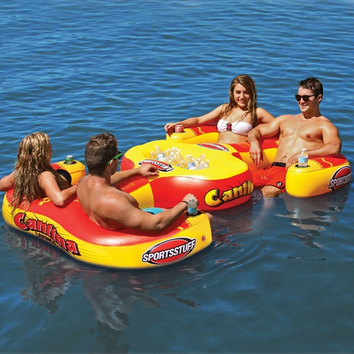 Sportsstuff Cantina 4 Person Pool Lake Lounge w 4 cup holder Inflatable  54-2025