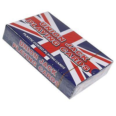 4 X Confezione Union Jack Carte Da Gioco Rivestito In Plastica Misura Standard