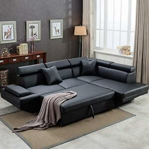 Details about 2PC Sleeper Sectional Sofa R Black Faux Leather Corner Sofa  Bed Living Room Set