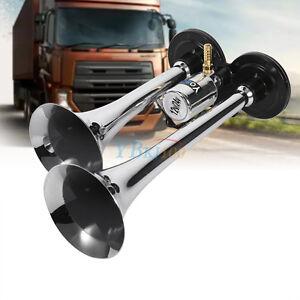 12V-Truck-Train-Boat-RV-150db-Super-Loud-Dual-Trumpet-Air-Horn-Chrome-W-Solenoid