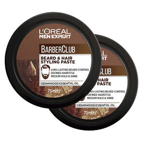 NEW L'Oreal Paris Men Expert Barber Club Beard & Hair Styling Paste 75ml x 2