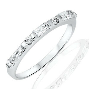 Baguette-and-Round-Simulated-Diamond-Sterling-Silver-Fashion-Half-Eternity-Ring