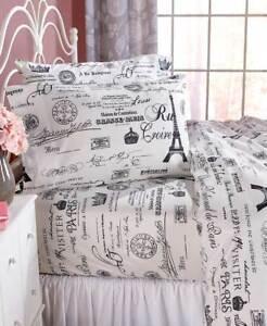 Vintage-Paris-Eiffel-Tower-Printed-Sheet-Set-Twin-Full-Queen-or-King-Bedding