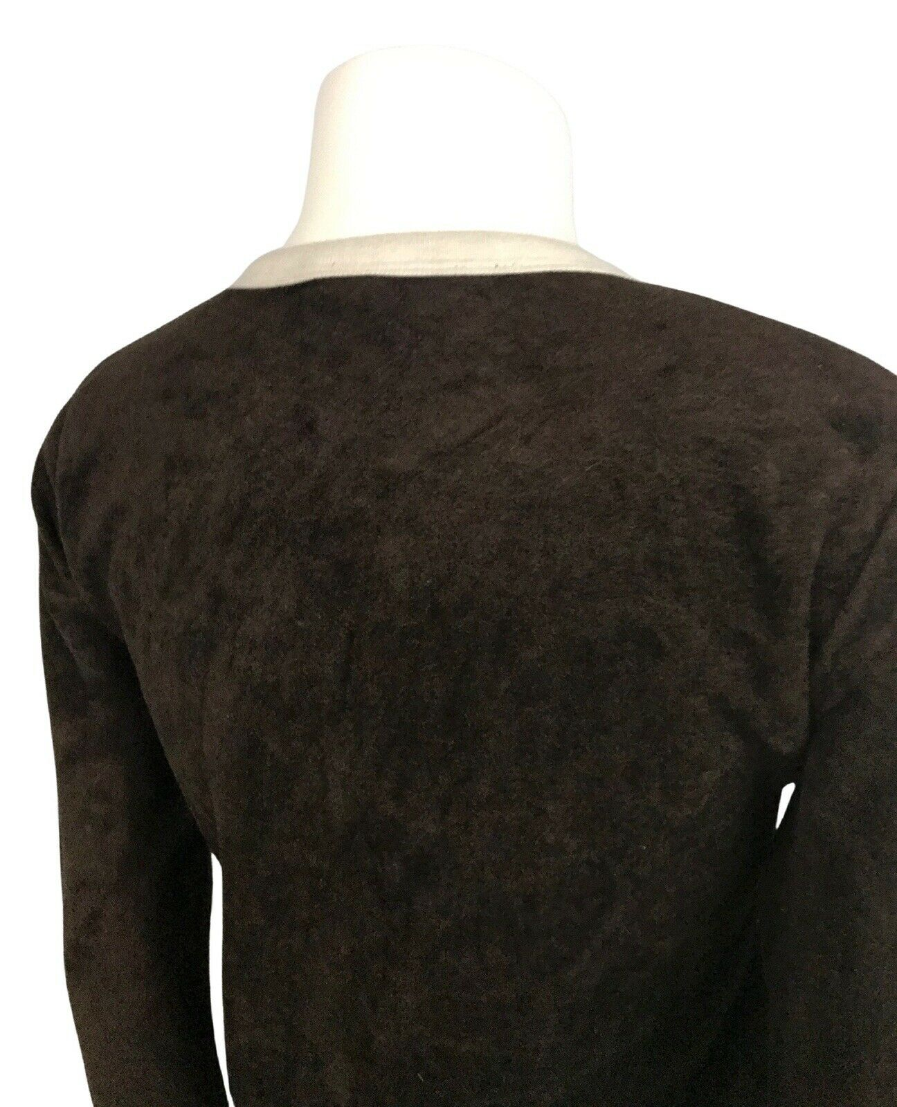 1970s Velour Sweater / 70s Brown Long Sleeve Ring… - image 6