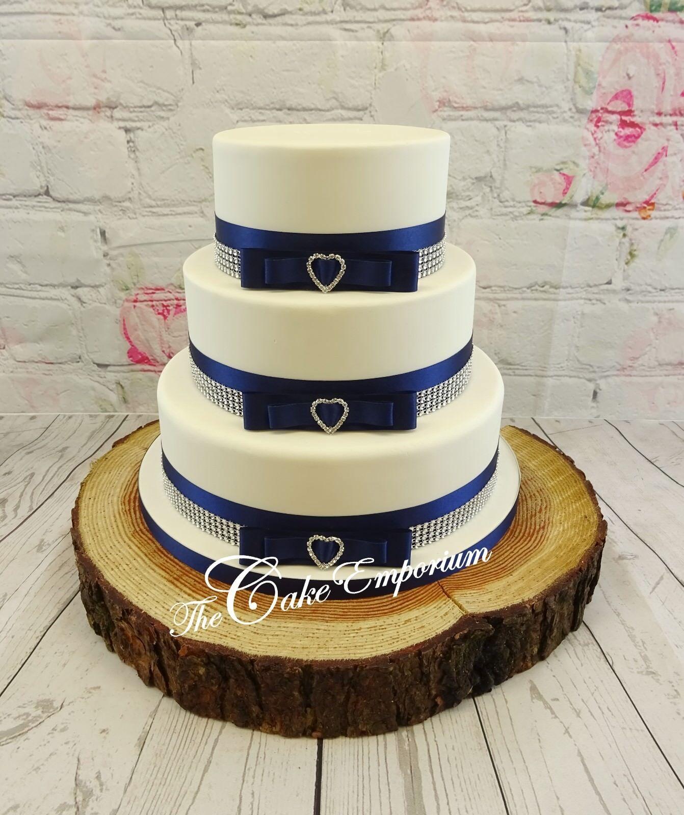 Torta nuziale Blu Blu Blu Navy Diamante Topper Mr & Mrs amore cuori Torta Set 2f207c