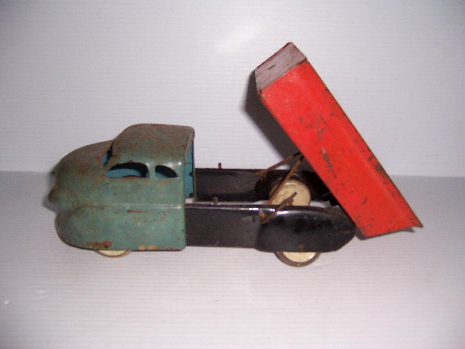 Vintage Wyandotte Juguetes de Acero Prensado blu Y rosso Juguete Camión