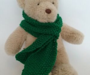 Teddy-Bear-Clothes-Handknitted-Green-Scarf