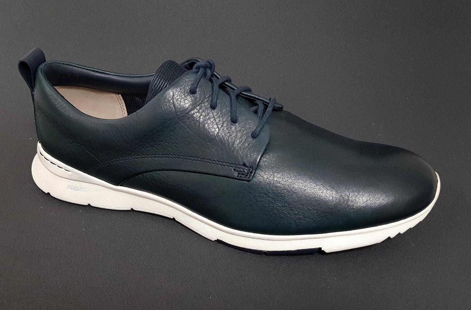 Herren Clarks Sneaker Sport Schuhe Schnürschuhe Blau Leder Neu - 25 % SALE