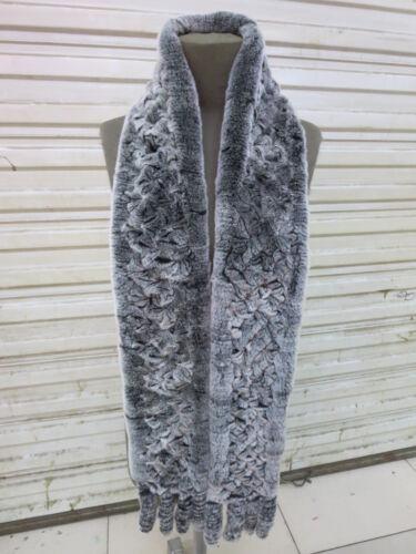 Winter 100/% Real Rex Rabbit Scarf with tassel Hand-Woven Soft Warm 180*13cm