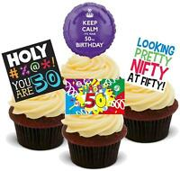 NOVELTY 50TH BIRTHDAY BLUE MIX 12 STAND UP Edible Wafer Cake Toppers Fifty 50