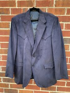 Circle-S-Dallas-Texas-Western-Cowboy-Blazer-Blue-Suede-46L-Sport-Coat-Jacket
