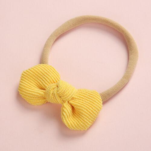 Newborn Baby Knotted Bows Soft Elastic Corduroy Nylon Headband Cute Hair Band