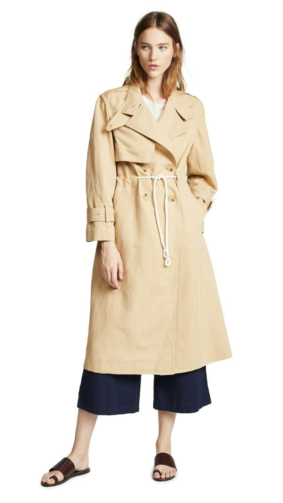 Vince Long Linen Cotton Drawstring Trench Coat Size XS Fit to S  645 NWT