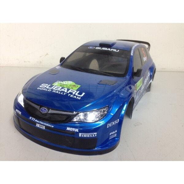 TAMIYA 1/10 Radio Control SUBARU IMPREZA WRC 08 Cuerpo Pintado Personalizado-Led De Cabeza & Luz De La Cola
