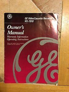 ge video cassette recorder vg 7910 owners manual vhs vcr ebay rh ebay com GE DVD Player GE Remote Models