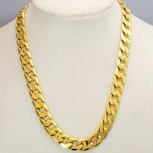 Men-039-s-Necklace-18k-Yellow-Gold-Filled-24-034-Charms-Link-Chain-Fashion-Jewelry-New