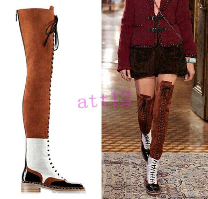 Cadenas rodilla de metal cuero para mujeres sobre muslo la rodilla Cadenas alta botas Zapatos Con Cordones Militar Nuevos 38baf6