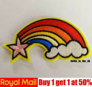 Rainbow Star Unicorn Embroidered Patch Badge Iron On / Sew On Applique