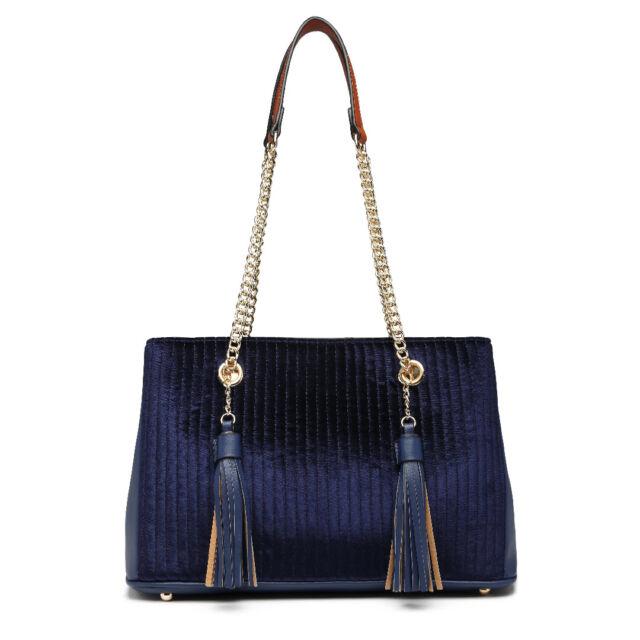 Women Tassel Suede   Leather Quilted Chain Shoulder Bag DESIGNER ...