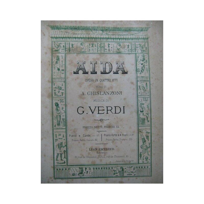 VERDI g. Aida GOUNOD Charles Erlösung Piano solo 19 Partitur sheet music sc