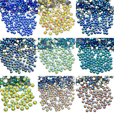 Color AB 1440Pcs 10Gross Top Quality No Hotfix Rhinestones Crystal Nail Art