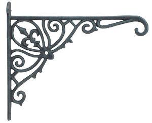 Cast-Iron-Plant-Hanger-Basket-Hook-Ornate-Fleur-De-Lis-Verdigris-Color-12-034-Deep