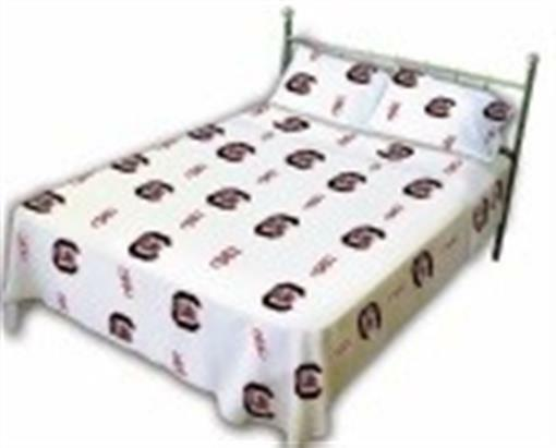 Comfy Feet SCUSSFLW South Carolina Printed Sheet Set Full - Weiß